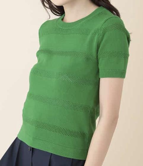 定時で帰ります衣装2話内田有紀緑半袖ニット